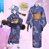 Sıcak Oyun Kantai Koleksiyonu cosplay çünkü Urakaze Japon tarzı kız mavi kimono kostüm (kimono + kemer + yay)