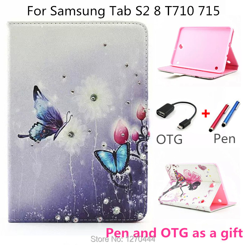 Case for Samsung Galaxy Tab S2 8.0 Sm-T710 T715 T715N, diamond Style Leather Stand smart Cover for Samsung Tab S2 T710/T715 8'' magnetic stand pu leather case cover for samsung galaxy tab s2 8 0 t710 sm t715 t715 8 tablet cover case screen protectors
