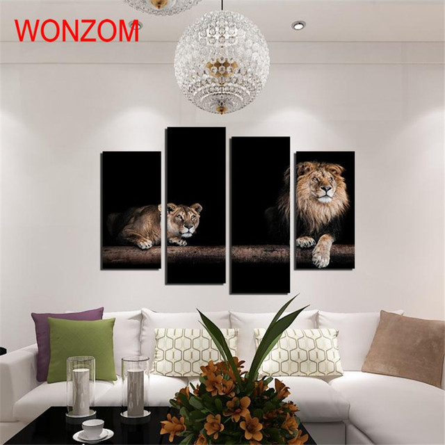 Home Decor Animal Sculpture Black And White Resin Lion Statue For Decoration