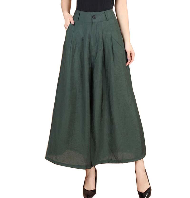 New Plus size Summer fashion Women solid Wide Leg Loose cotton Dress   Pants   Female Casual Skirt Trousers   Capris   Culottes BL1441