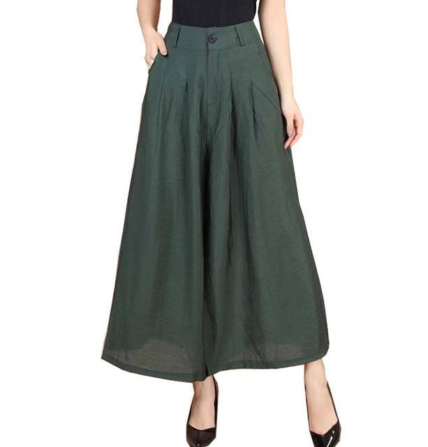 Nueva Más El tamaño de moda de Verano de Las Mujeres sólido Vestido de algodón Sueltos Pantalones de Pierna Ancha Falda Pantalones Capris Ocasionales Femeninos Culottes BL1441