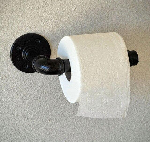 American Vintage Water Pipe Paper Towel Holder Toilet Rack Clothes Bathroom Accessories