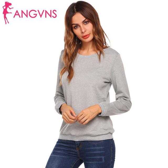 ANGVNS Autumn T-shirts women Cuffs Casual O-Neck Long Sleeve Solid Thread  Hem d74a62b877