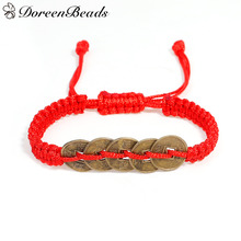 Doreenbeads 1 предмет Регулируемый Каббала красная строка Плетеный Дружба Браслеты для Для мужчин Для женщин Медь денежные монеты 16 см длинные Новинка 2017 года