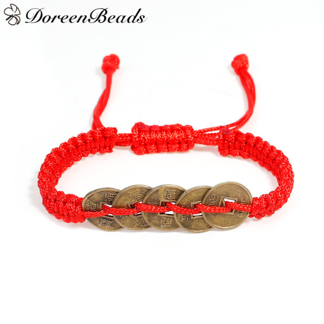 Doreenbeads 1 Pc Adjule Kabbalah Red String Braided Friendship Bracelets For Men Women Copper Cash Coins