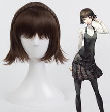 Persona 5 Makoto Niijima Parrucche Misto Capelli Castani Cosplay Parrucca Con La Treccia + Protezione Della Parrucca