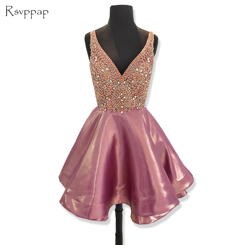 Cute V neck Sleeveless Crystal Beads 8th Grade Graduation Dresses Backless Short Homecoming Dress 2018