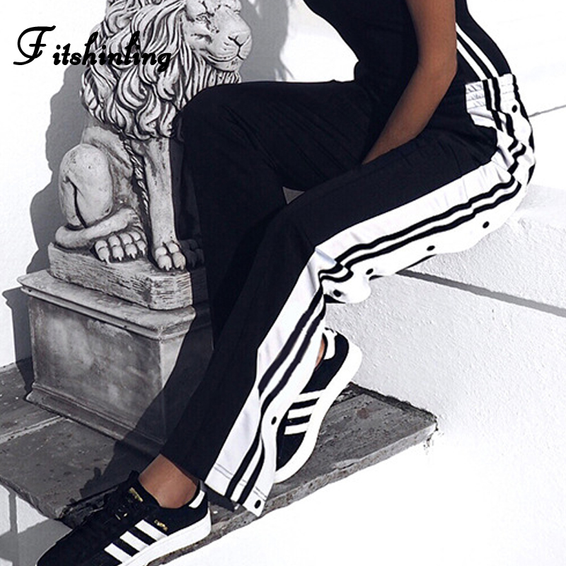 Fitshinling High Street Women's High Waist Pants Sportswear Buttons Striped Black Trousers For Women Straight Loose Joggers Sale