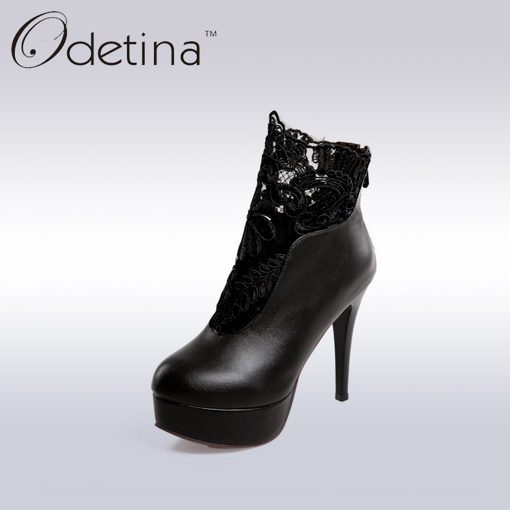 Odetina Sexy Extreme High Heels Women Platform Booties 2019 Spring Ladies Black Lace Back Zipper Ankle Boots Non-slip PumpsOdetina Sexy Extreme High Heels Women Platform Booties 2019 Spring Ladies Black Lace Back Zipper Ankle Boots Non-slip Pumps