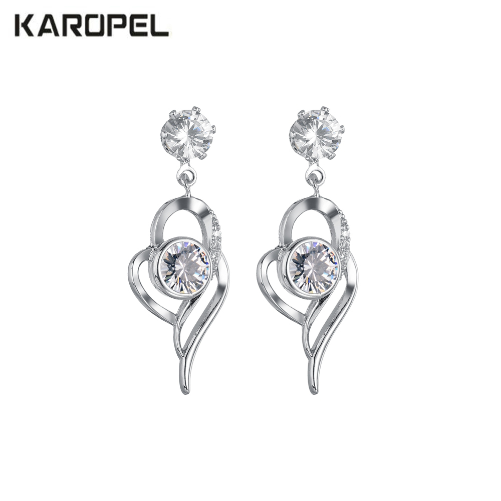 Micro Paved Zircon inlaid heart-shaped earrings female Crystal  jewelry Fit Women For Party