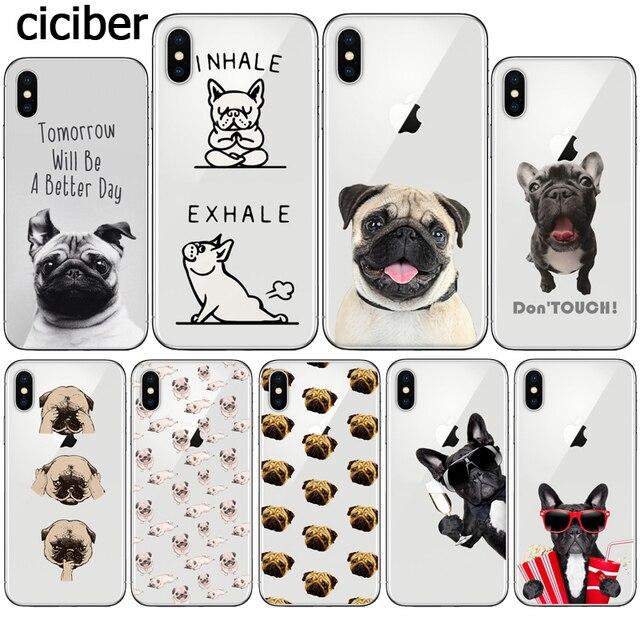 Francês Bulldog Pug Engraçado Cão Bonito Animal Silicone Suave Caixa Transparente para o iphone X 8 8 7 PLUS PLUS 7 MAIS Funda 10 Capinha Coque