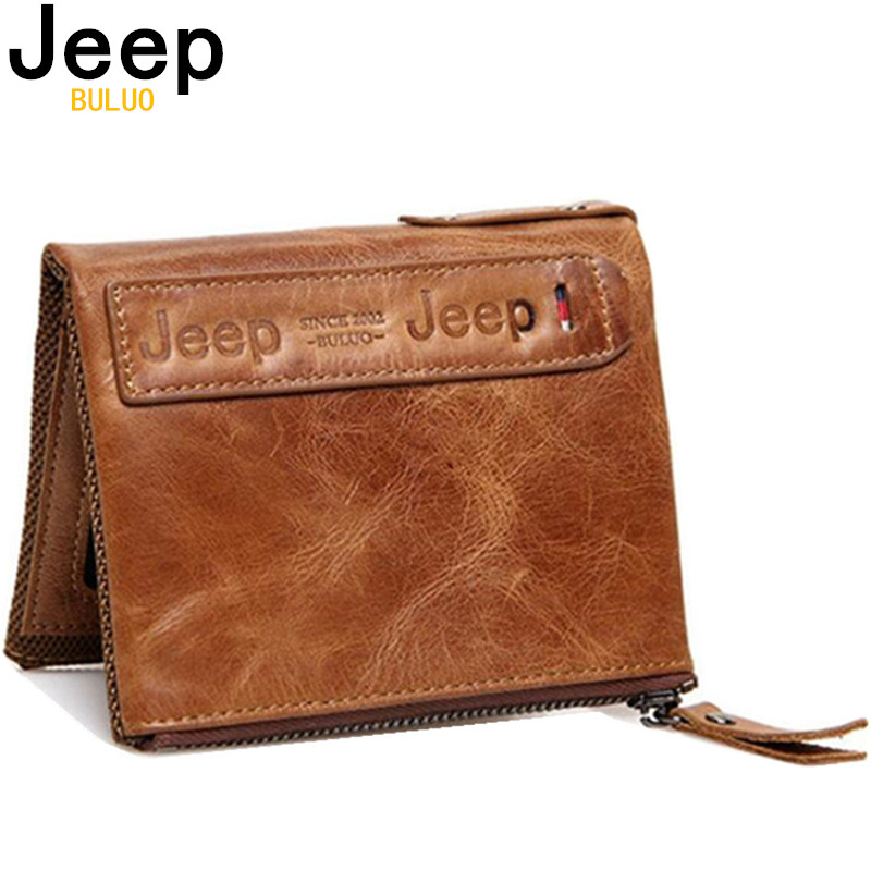 JEEP BULUO Unisex Wallets Genuine Leather Men Women Bifold Wallet Short Coin Purse Vintage Wallet Natural Leather High Quality