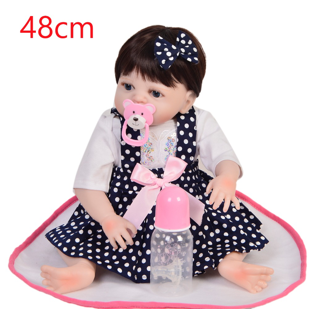 48cm Full Silicone Body Reborn Baby Doll Toy Vinyl Newborn 19inch delicate Real touch bebe Bathe Accompanying Toy Birthday Gift48cm Full Silicone Body Reborn Baby Doll Toy Vinyl Newborn 19inch delicate Real touch bebe Bathe Accompanying Toy Birthday Gift