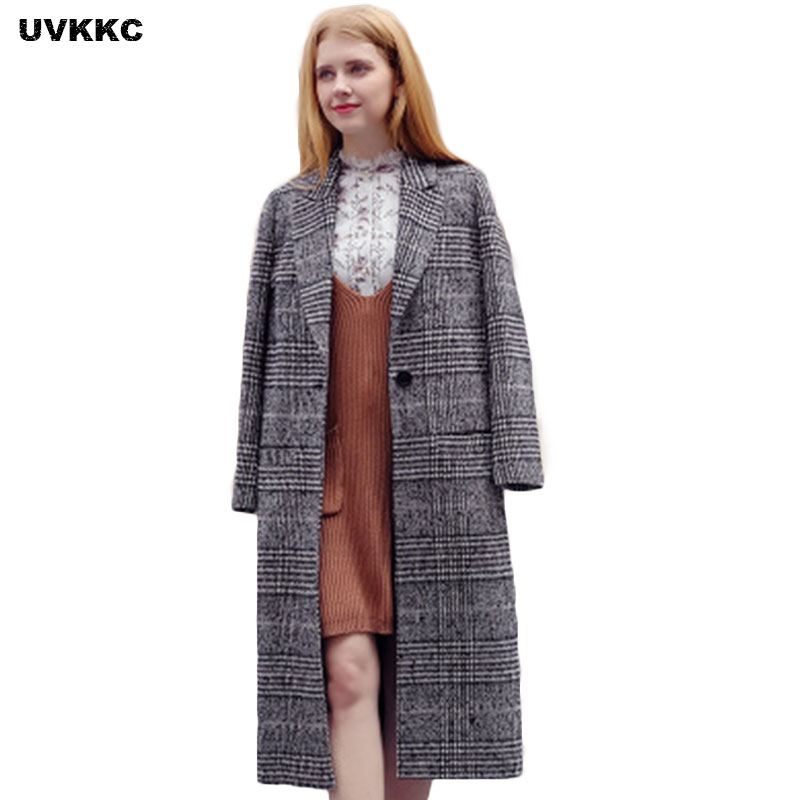 New Women Wool Blends Coat Winter 2017 Autumn Fashion Elegant Quality Plaid Padded Slim Long Tweed Woolen Outerwear Wool Jacket