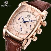 BENYAR Watch Men Fashion Quartz Men S Watches Top Brand Luxury Chronograph Leather Rose Gold Sport