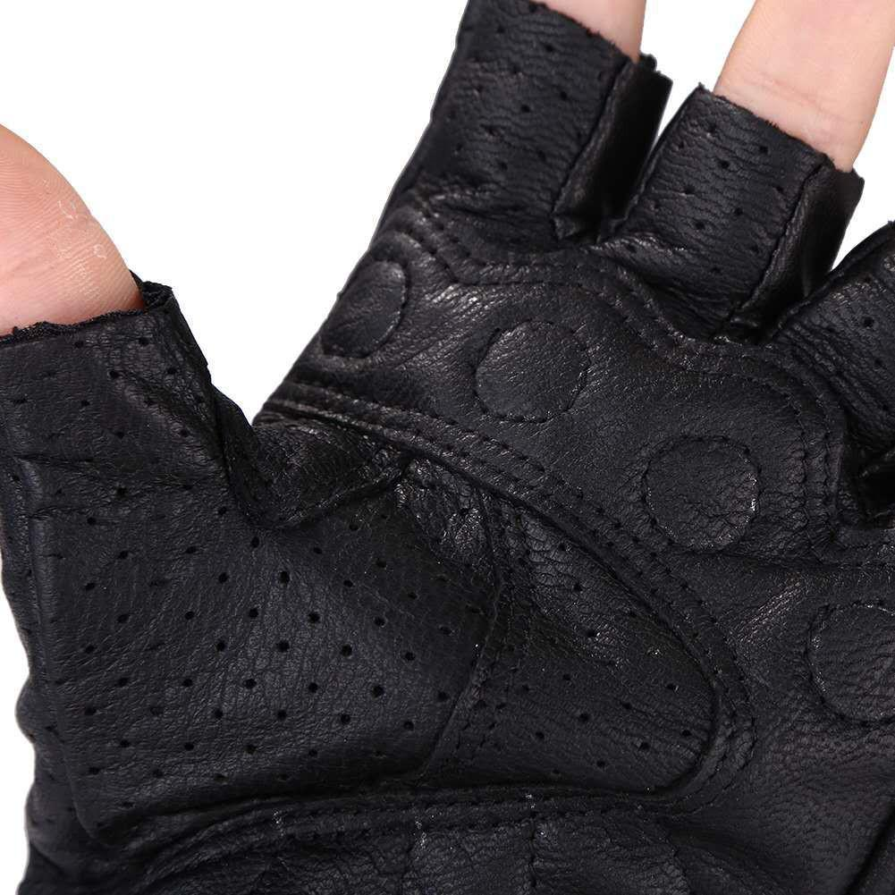 Image 4 - Motorcycle Gloves Leather Summer Breathable Half Finger Gloves Unisex Mitt Fingerless Glove For Men Women Scooter Moto Mitten-in Gloves from Automobiles & Motorcycles