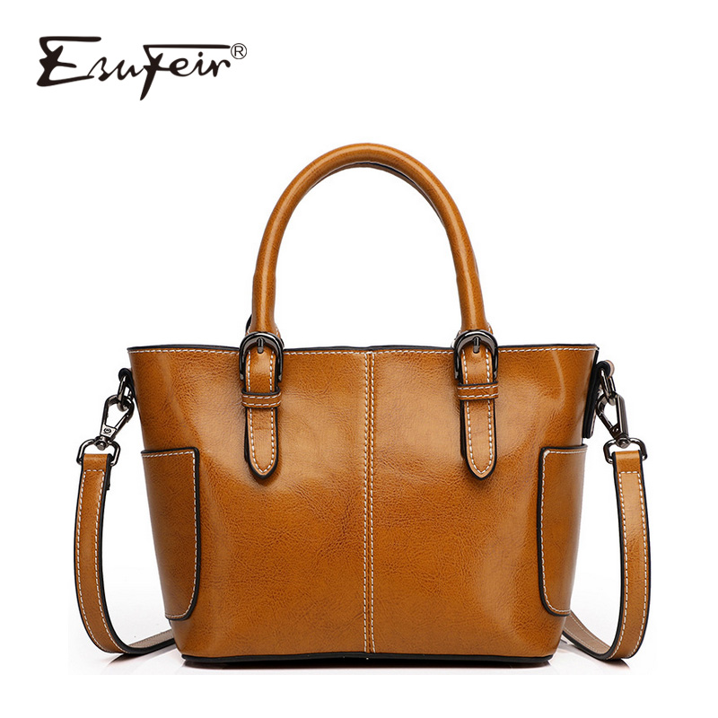 2018 Genuine Leather Brand Women Handbag Crossbody Bag European And American Fashion Oil wax Leather Women Bag Casual Tote lauwoo women luxury brand tote bag high quality ladies casual tote bag girls vouge european and american style tote bag