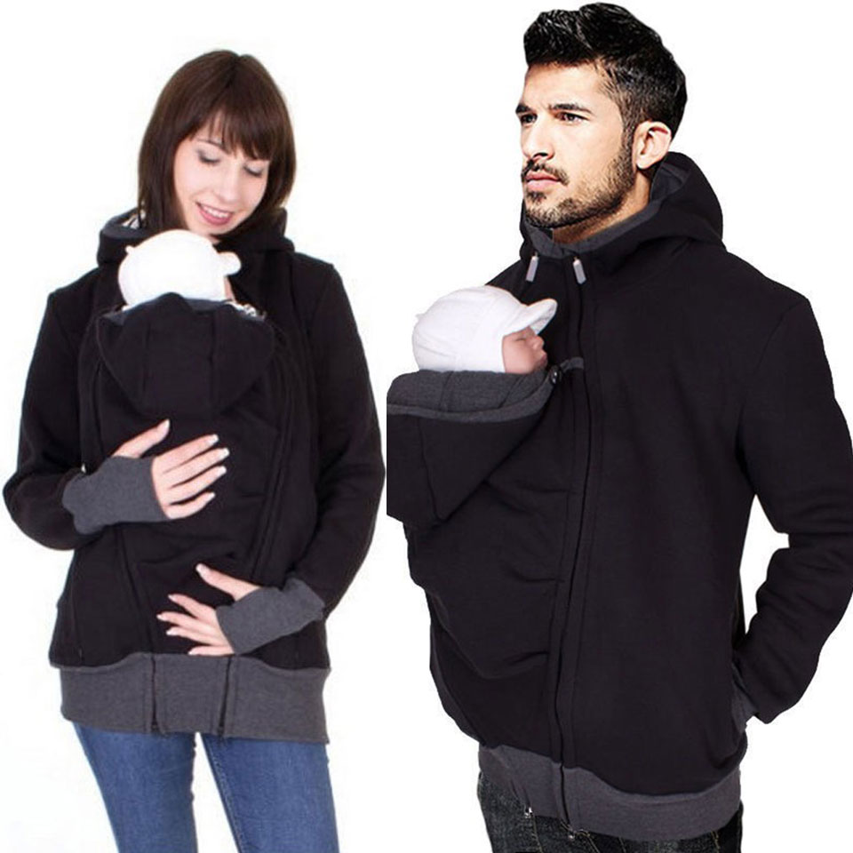 Winter Father Baby Carrier Hoodies O-Neck Maternity Baby Hoodies Pregnant Causal Zipper Hooded Outerwear For Women /Men Clothes hoodies