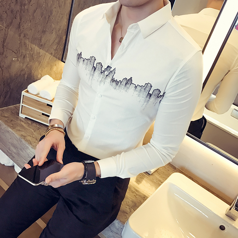 High Quality Shirt Men Korean Slim Fit City Print Simple Tuxedo Shirt Long Sleeve Casual Business Dress Shirts Mens Clothing 2XL
