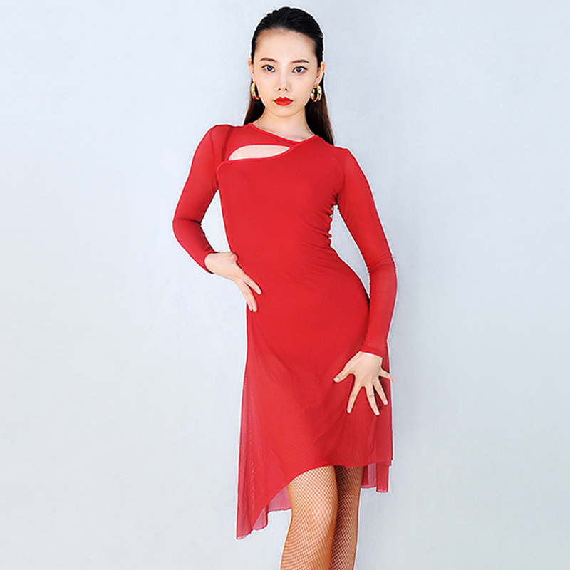 New Arrival Latin Dress Long Sleeve Ballroom Cha Cha Salsa Tango Practice Dance Wear Long Sleeve
