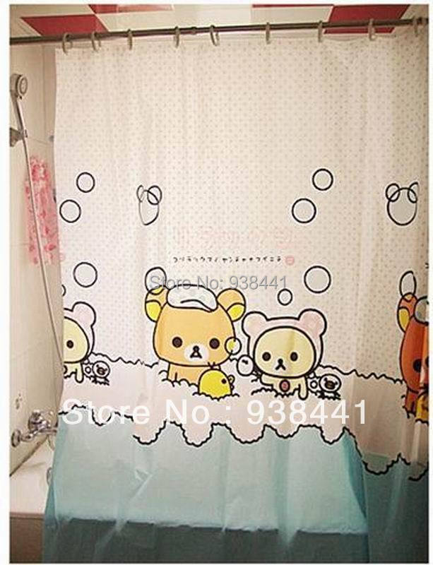 San X Rilakkuma Cute Bath Shower Curtain With Hooks In Curtains From Home Garden On Aliexpress
