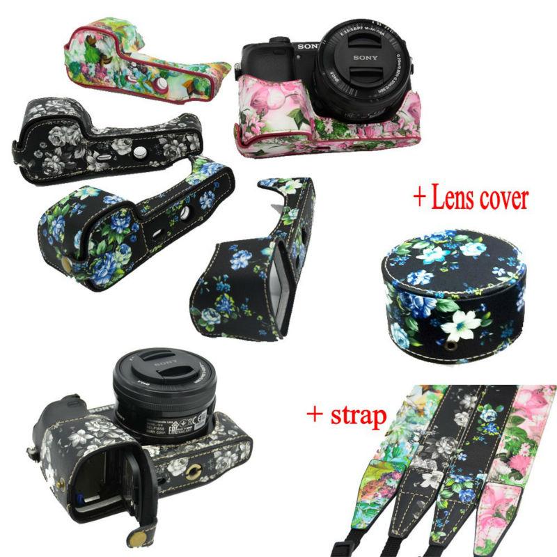 Nice Flower Camera Bag For <font><b>Sony</b></font> A5000 <font><b>A5100</b></font> A6000 A6300 Camera Half Case Bottom Bag Open <font><b>battery</b></font> + Shoulder strap + Len cover