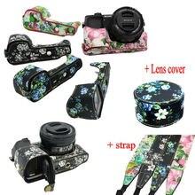 Good Flower Digicam Bag For Sony A5000 A5100 A6000 A6300 Digicam Half Case Backside Bag Open battery + Shoulder strap + Len cowl