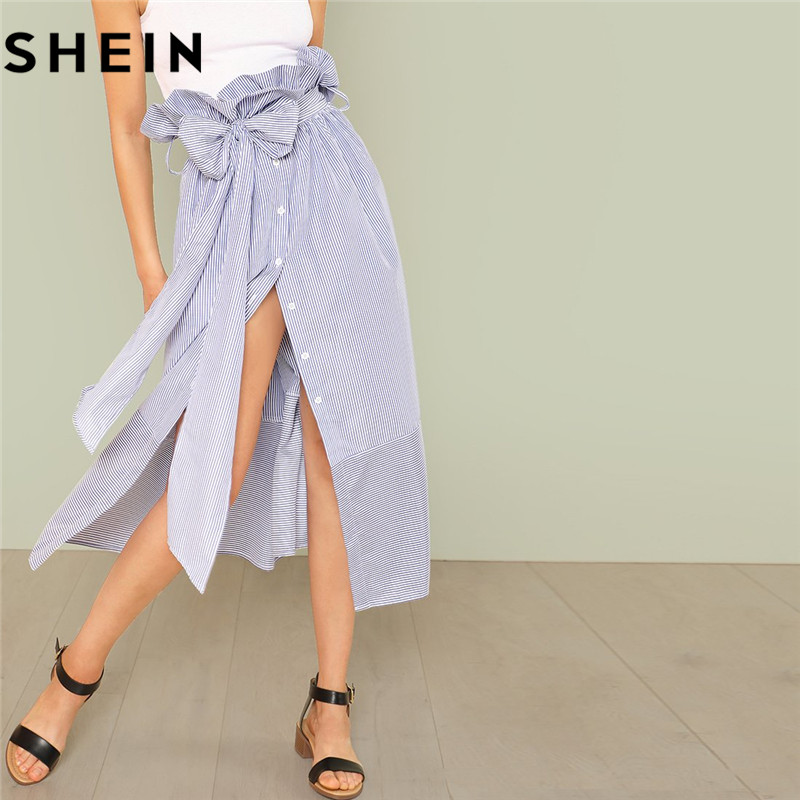 SHEIN Belted Ruffle High Waist Navy Pinstripe Maxi Skirts 2018 Summer Women Fashion Casual Lace-up Split Long Striped Skirts