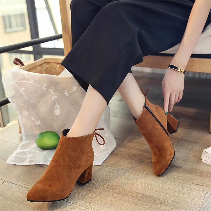 Artı boyutu 43 sıcak satış kadınlar orta buzağı çizmeler kahverengi gri sivri burun fermuar sonbahar bahar kadın moda çizmeler rahat dantel-up çizmeler