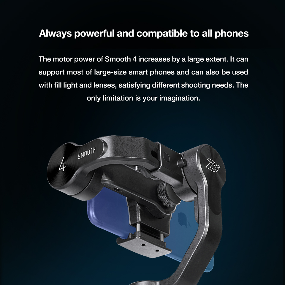 Zhiyun Smooth 4 3-Axis Handheld Smartphone Gimbal Stabilizer for iPhone XS Max XR X 8Plus 8 7P7 Samsung S9 S8 S7 & Action Camera 12