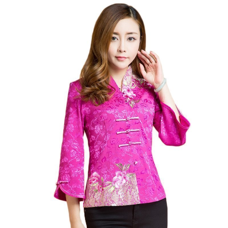 Spring Autumn Chinese Style Blouse Tang Suit Tops Costume Women's Three Quarter Sleeve Clothes Qipao Tops Plus Large 5XL 6XL