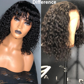 13×6 Curly Lace Front Wig With Bangs 150 Density Short Bob Human Hair Wigs For Women Black Brazilian Lace Wig Pre Plucked Remy