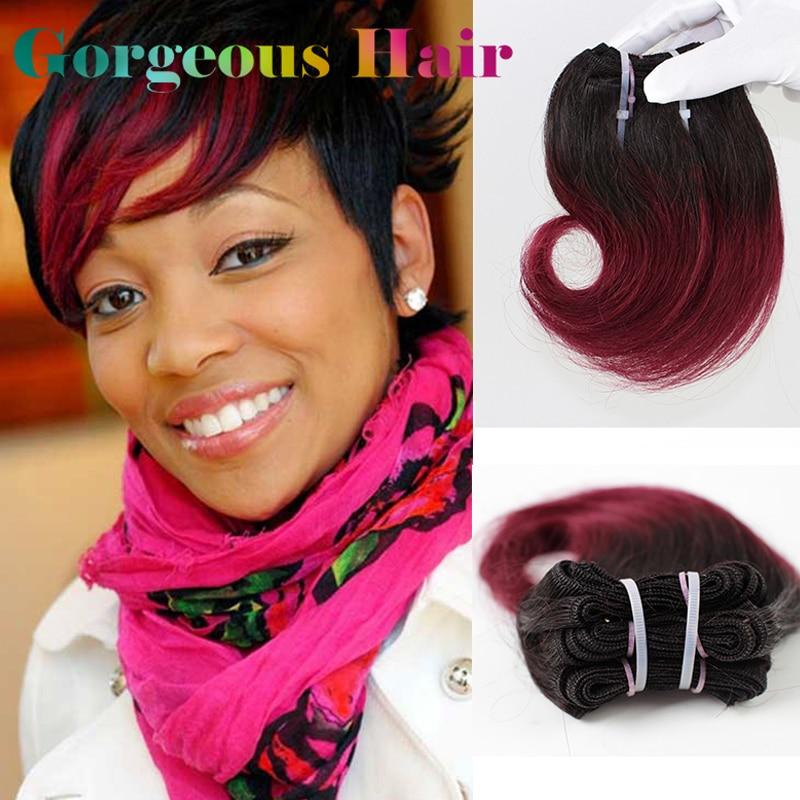 99j 8 Inch 1b Burgundy Brazilian Hair Short Weave Hair Extensions