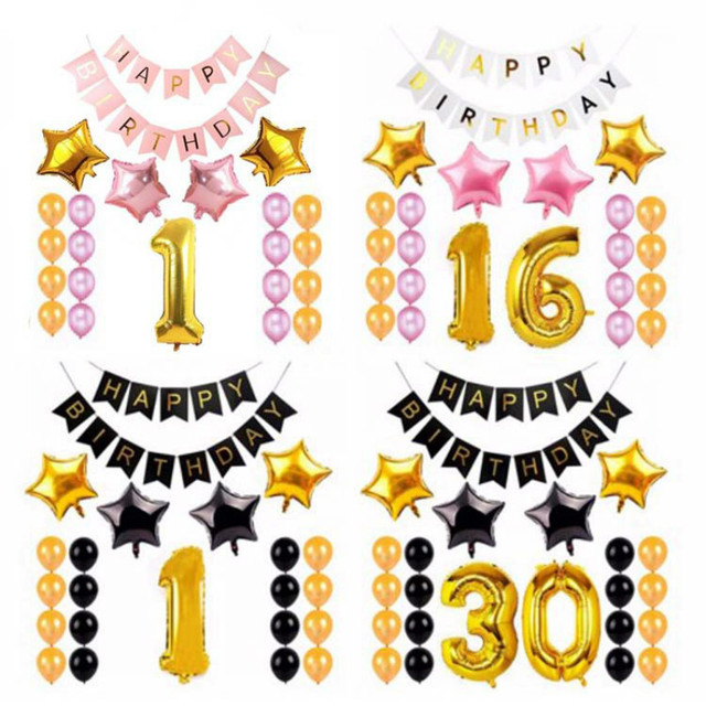 Birthday 1st 21st 18th 30th 40th 50th 60th Happy Banner Bunting Balloons Anniversary Decoration Party Supplies