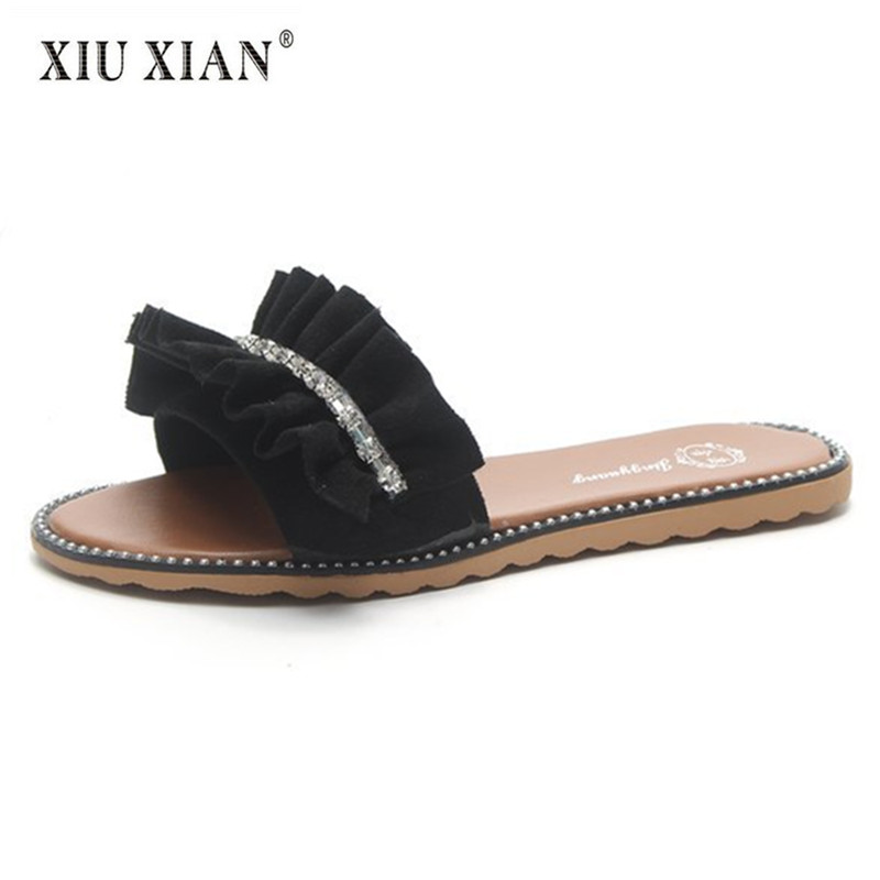 2018 Summer New Arrived Pleated Suede Cloth Women Slippers Lovely Crystal Comfort Travel Flats Shoes Vintage Home Floor Slippers