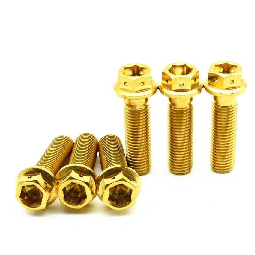 все цены на Titanium bolts M10 20-75mm DIY MTB Gold color Dual Drive Hollow Flange Head Outer Hexagon Grade 5 Ti screws Ti fastener онлайн