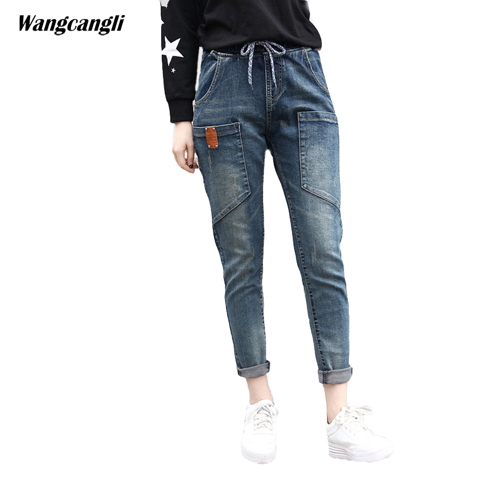 jeans women Vintage blue Large size XL 5XL pockets Fashion trend classic design  Spring summer Elastic Waist cowby wangcangli wangcangli jeans women shorts light blue large size denim fat sister elastic waist mid waist jeans moustache effect summer 4xl
