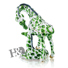 H&D Resting Giraffe and Baby Figurine BOX Crystals Mother and Child Jewelry Box, Trinket or Pill Box Christmas Birthday Gifts