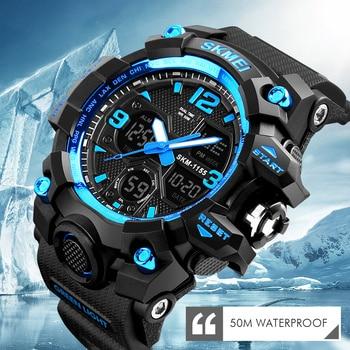 SKMEI Men Sport Quartz Watch Analog Digital LED Outdoor Waterproof Military Watches Chronograph Wristwatches 1155 2018