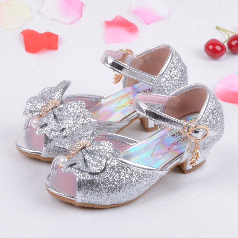 Enfants 2016 Children Princess Sandals Kids Girls Wedding Shoes High Heels  Dress Shoes Party Shoes For Girls Pink Blue Gold-in Sandals from Mother    Kids b9fc72b0c16d