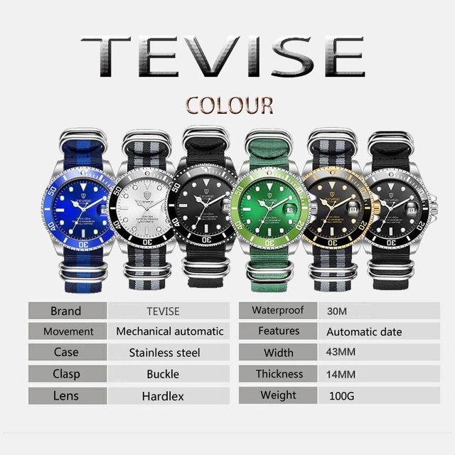 2017 Tevise Brand Men Mechanical Watch Automatic Role Date Fashione luxury Submariner Clock Male Reloj Hombre Relogio Masculino 2