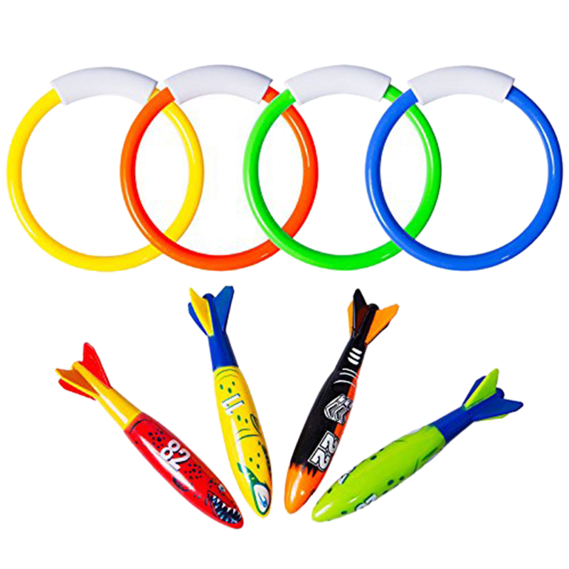 8 Pcs Underwater Swimming Pool Diving Rings, Diving Throw Torpedo Bandits Toys For Kids Gift Set. Training Dive Toys For Learn