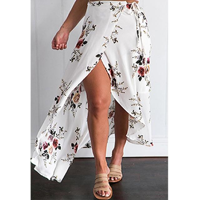 7ff3bcab83 Vintage floral print long skirts women Summer elegant beach maxi skirt 2017 Boho  high waist white asymmetrical skirt