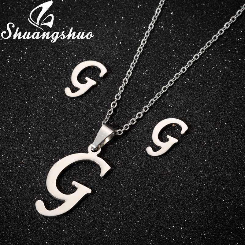 Shuangshuo ネックレスイヤリングジュエリーセット女性のためのステンレス鋼の手紙ペンダントネックレスイヤリングブライダルジュエリー