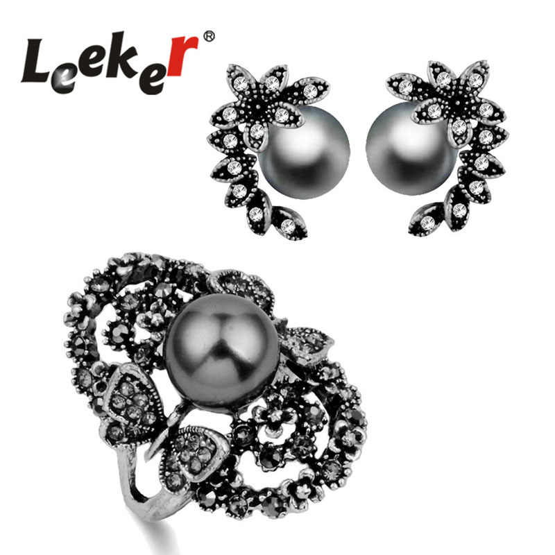 LEEKER Vintage Simulated Pearl Big Ring And Stud Earrings Women Jewelry Sets For Wedding Party 3 Colors LK8