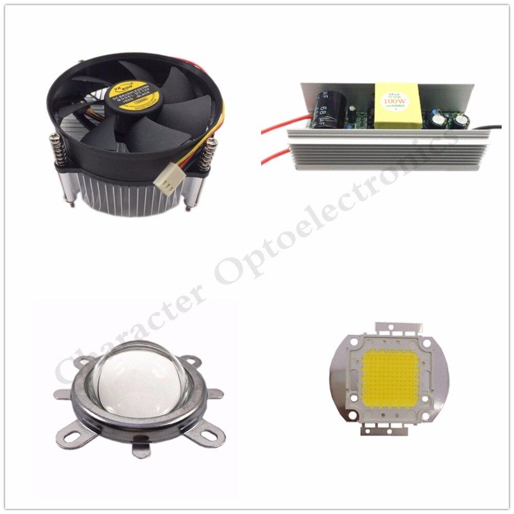 100W Att High Power Warm White/ Naturally White/ White/  Full Spectrum/ LED Chip Light + Heatsink Cooler+100W LED Driver