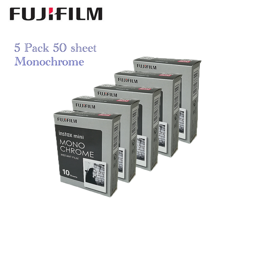 5 packs Fuji Fujifilm Instax Mini Instant Film Monochrome Photo Paper For Mini 8 7s 7 50s 50i 90 25 dw Share SP-1 Cameras new 5 colors fujifilm instax mini 9 instant camera 100 photos fuji instant mini 8 film