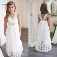 New Arrival White Ivory Boho Flower Girl Dresses For Weddings V Neck Lace Girls Wedding Party Dress Princess Birthday Gown