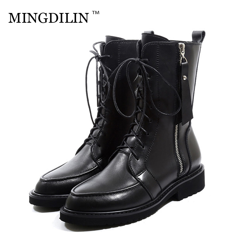 MINGDILIN Women's Platform Ankle Boots Woman Genuine Leather Thigh High Boot Winter Gothic Shoes Plus Size 43 Motorcycle Boots women boots plus size 35 43 genuine leather autumn winter ankle boots black wine red shoes woman brand fashion motorcycle boot