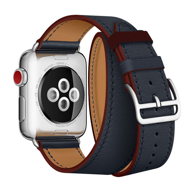 Genuine Leather Strap For Apple Series 4 Newest Office Band Double Tour Watchbands For Apple Watch 1 2 3 herm Bracelet 38mm 42mm | Fotoflaco.net